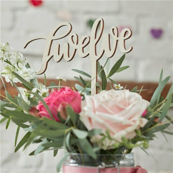Boho Wooden Wedding Table Numbers 12pk